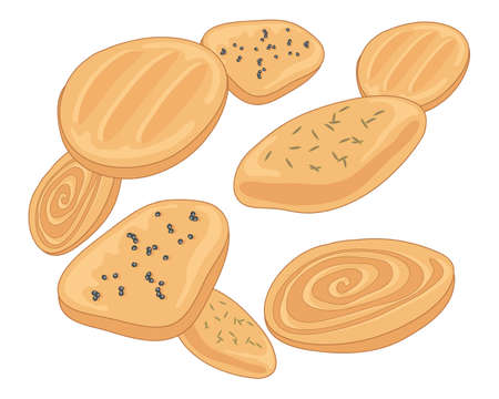 biscuits: an illustration of delicious indian biscuits including cinamon swirl almond cumin and poppy seed flavors on a white background