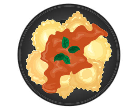 an illustration of italian ravioli on a glossy black plate with a rich tomato sauce with basil leaves on a white background
