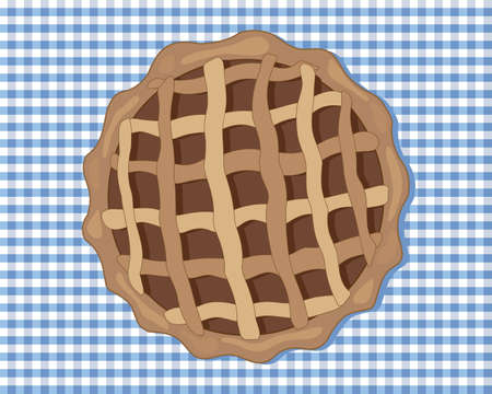 criss cross: an illustration of a chocolate tart viewed from above with a pastry case and a criss cross design on top with a blue gingham tablecloth Illustration