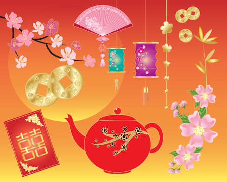 red fan: an illustration of various chinese traditional objects including money envelope lantern coins a fan and flowers on a golden red background Illustration