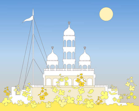 sikhism: an illustration of a white gurdwara a temple of the sikh faith on a hot summer day with yellow mustard flowers in the foreground