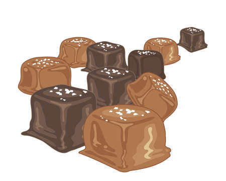 coating: an illustration of squares of salted caramel candy with a dark and light chocolate coating on a white background Illustration