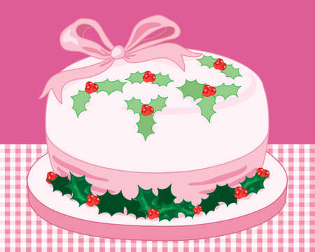 christmas cake: an illustration of a stylized christmas cake in pink with ribbon and holly decoration on a cake board with gingham tablecloth and pink background