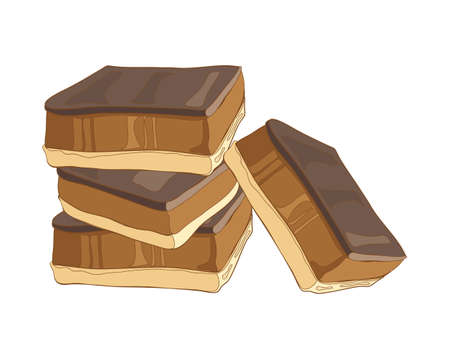 shortbread: an illustration of a stack of caramel shortbread with a chocolate topping otherwise known as millionaire shortbread on a white background