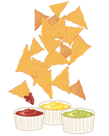 nachos: an illustration of crispy fresh nachos with a variety of dipping sauces on a white background