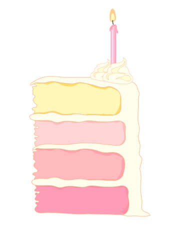 cake background: an illustration of a slice of birthday cake with four layers of pink shaded sponge cake with creamy frosting and a pink candle on a white background Illustration
