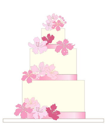 cake with icing: an illustration of a traditional wedding cake with white frosting pink ribbon and decorative pink flowers on a white background
