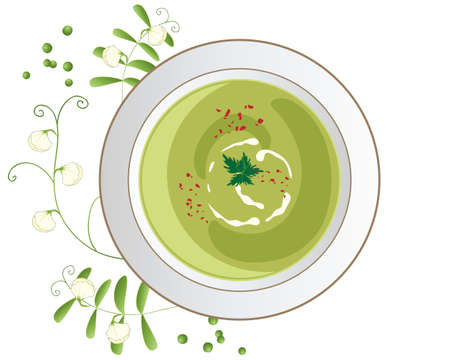 garnish: an illustration of a bowl of pea soup in a rich green color with chilli flake  and leaf garnish and pea shoots and flower decoration on a white background
