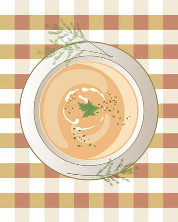 garnish: an illustration of a bowl of chicken soup with cream swirls leaf garnish and sprigs of dill on a gingham tablecloth