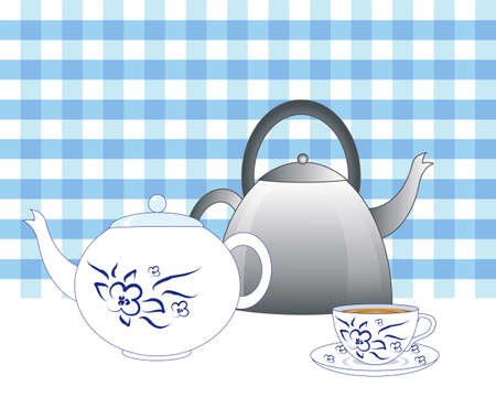 old fashioned: an illustration of a steel old fashioned kettle with a blue and white teapot and tea cup with a blue gingham background Illustration