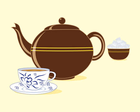 white tea: an illustration of a brown color old fashioned teapot with matching sugar bowl and a blue and white tea cup and saucer on a pale lemon background
