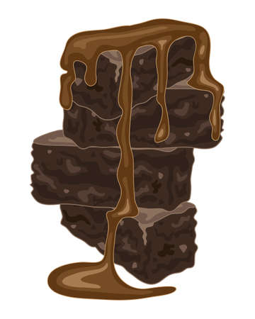 indulgent: an illustration of a stack of home made chocolate brownies with a rich chocolate sauce on a white background