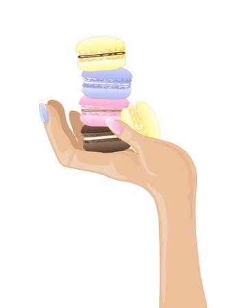 an illustration of a female hand holding freshly made macaroon treats in different flavors on a white background