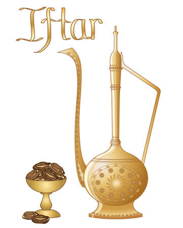 iftar: an illustration of an iftar party greeting in the format of an invitation card with dates and jug on a white background Illustration