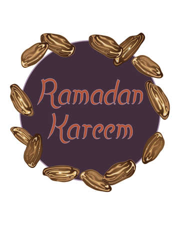 devout: an illustration of a ramadan festival greeting card with dates fruit decoration and the words ramadan kareem on a white background