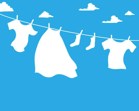 breezy: an illustration of a white washing line with bright white clothes on a bold blue background with fluffy white clouds