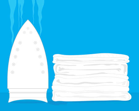 washing powder: an illustration of a pile of white laundry with steaming white iron on a blue background Illustration