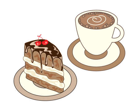 cake background: an illustration of a lunch time snack including a cup of coffee and a slice of gooey chocolate cake on a white background Illustration