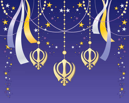 sikh: an illustration of a sikh celebration greeting card with golden holy symbol ribbons and stars on a purple background