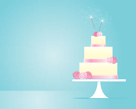 cake background: an illustration of a pink and white iced celebration cake with sparklers in greeting card format on a jade blue background