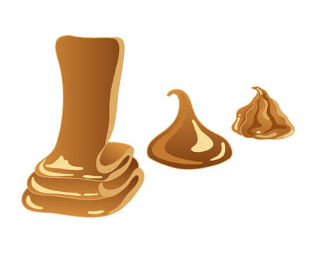 sweet background: an illustration of sweet golden caramel in three different shapes on a white background Illustration
