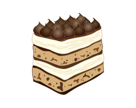 piped: an illustration of a classic tiramisu cake with coffee flavored piped decoration on a white background Illustration