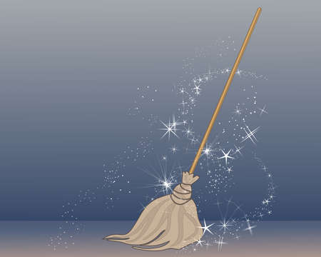 conjuring: an illustration of a magic broom in an old fashioned style coming to life with magic sparkles on a blue background