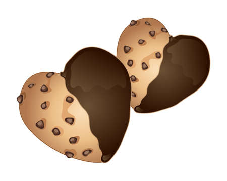 heart shaped: an illustration of some home made heart shaped cookies with chocolate chips half dipped in chocolate on a white background Illustration