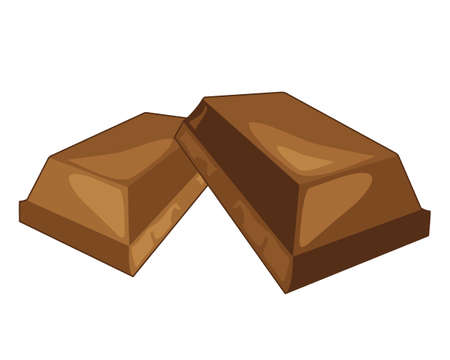 chocolate treats: an illustration of chunks of chocolate broken from a bar on a white background