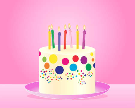 frosting: an illustration of a classic colorful birthday cake with candles and cream frosting on a pink plate and background Illustration