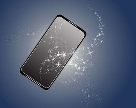 inky: an illustration of a magic smartphone with white sparkles on an inky blue background