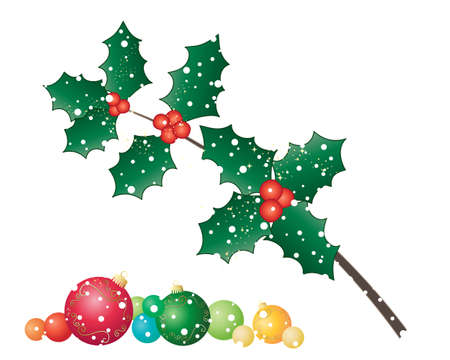 a twig: an illustration of a twig of seasonal christmas holly with red berries sparkles and a colorful selection of bauble decorations on a snowy background