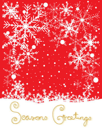season's greeting: an illustration of a christmas greeting card with white patterned snowflakes on a red background with the message seasons greetings in gold lettering Illustration