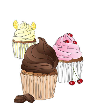 advert: an illustration of a bakery advert with three frosted cupcakes with black outline on a white background