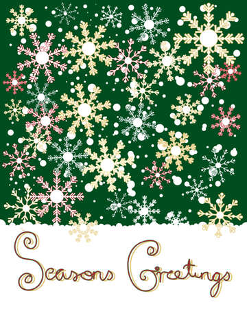season's greeting: an illustration of a christmas greeting card with white patterned snowflakes on a green background with the message seasons greetings in red and green lettering