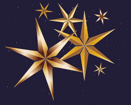 six point: an illustration of stylized golden stars on an inky blue starry background