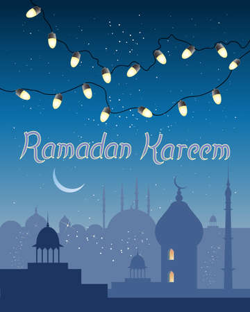 history architecture: an illustration of a ramadan greeting card with small golden lights over the skyline of an asian city with islamic architecture under an evening starry sky