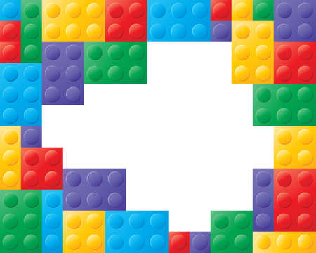 red building blocks: an illustration of colorful building blocks in red yellow green blue and purple with white space in the center for text