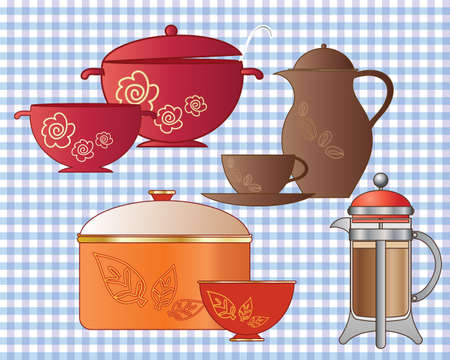 kitchen ware: an illustration of a variety of cooking utensils and kitchen ware with pots and pans coffee pot and french press on a tablecloth background