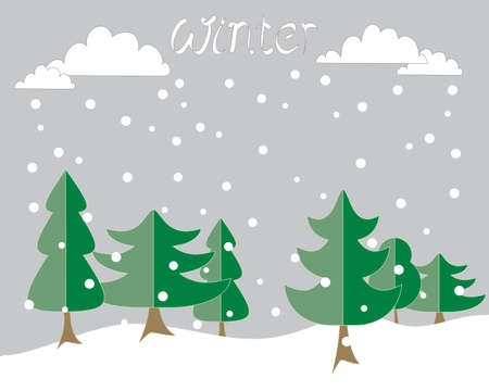 fir trees: an illustration of a winter background greeting card with abstract fir trees and white winter snow clouds with snowflakes on a gray background Illustration
