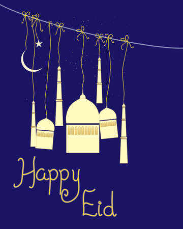 an illustration of an abstract greeting card for the muslim festival of eid with stylized mosque and the words happy eid on a dark blue background