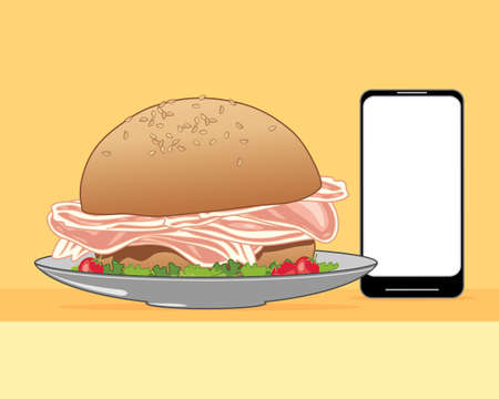 sesame seed: an illustration of a delicious bacon and salad sandwich made from a sesame seed bun ordered from a smart phone on a yellow background