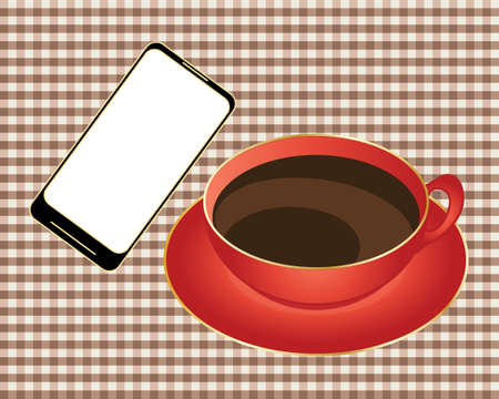 out of order: an illustration of a smart phone with a white screen ready to order from a take out app beside a red and gold cup of black coffee on a gingham background