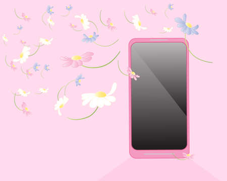 drifting: an illustration of a pink smart phone with multi color spring flowers drifting across a pink background