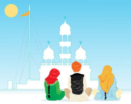 salwar: an illustration of a gurdwara in the punjab with pilgrims praying in traditional dress under a hot blue sky Illustration
