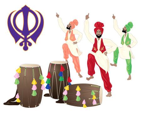 sikhism: an illustration of a punjabi drums male dancers and the sikh symbol on a white background in greeting card format