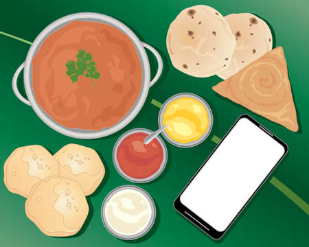 curry: an illustration of an indian meal ordered from a smart phone with curry chapatti poori and sauces on a green leaf background