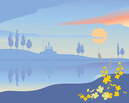 rural india: Illustration of an abstract punjabi landscape with gurdwara temple and trees reflected in the river at sunset with mustard flower decoration