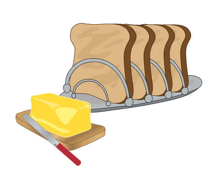 crunches: Illustration of a metal toast rack with four slices of toast and a wooden board with a slab of butter and a knife on a white background Illustration