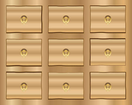 drawers: Illustration of a wooden cabinet with small drawers and handles in the shape of the sikh chakra symbol